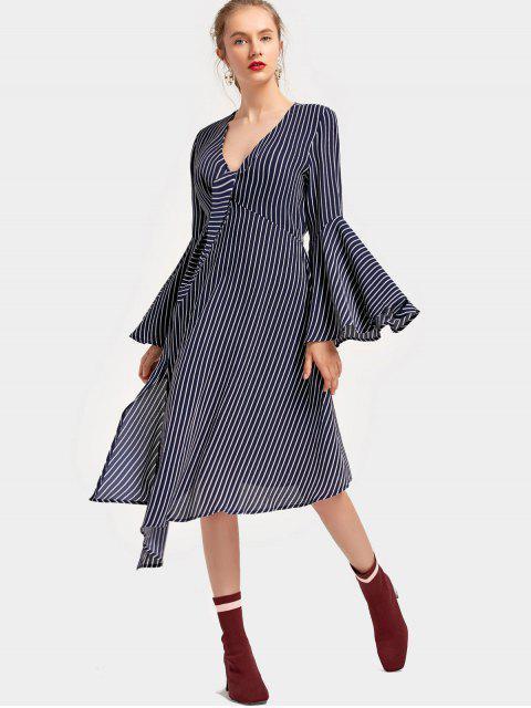 Vestido asimétrico a rayas con manga abullonada en el cuello - Azul Purpúreo M Mobile