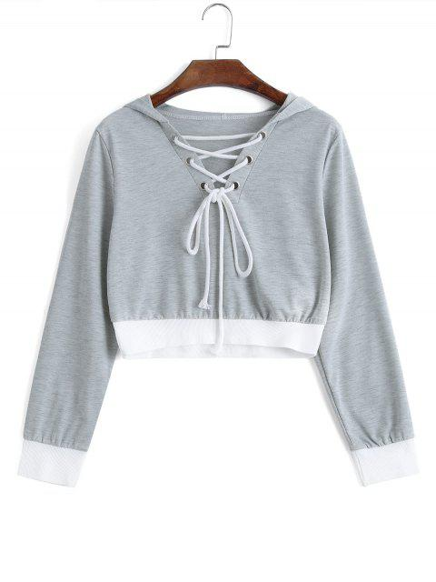 Cropped Contraste Lace Up Hoodie - Gris Claro S Mobile