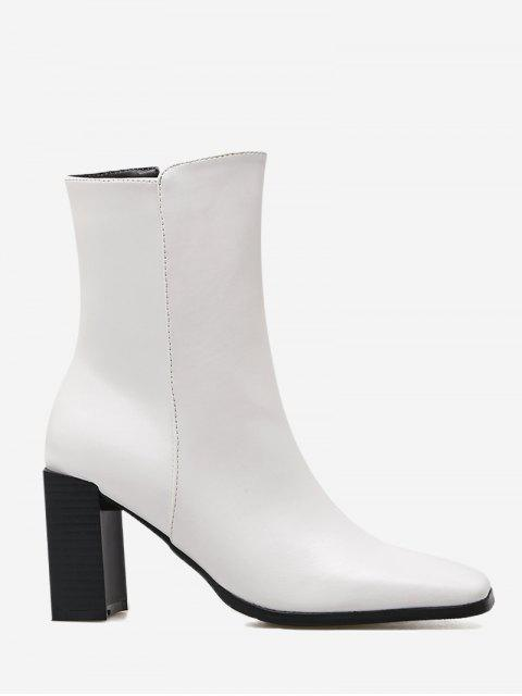 buy Block Heel Square Toe Side Zipper Boots - WHITE 36 Mobile