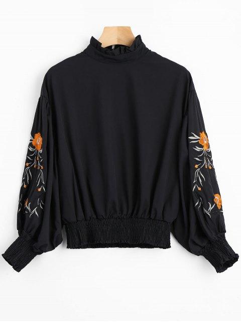 Blusa con volantes manga linterna floral - Negro S Mobile