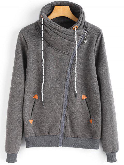 Chaqueta de cremallera asimétrica cuello con capucha y bolsillos - Gris M Mobile