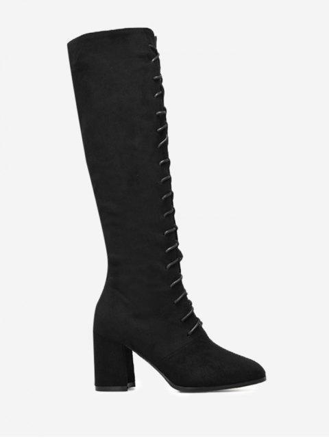 Botas altas hasta la rodilla con cordones y tacón grueso - Negro 39 Mobile