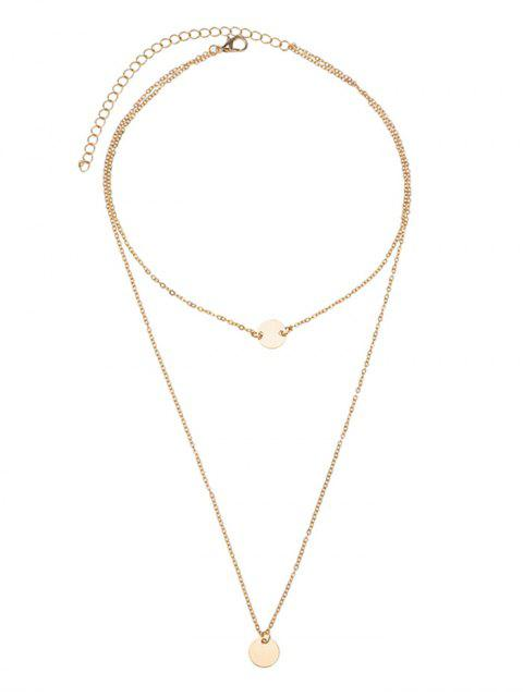 ladies Disc Round Pendant Layered Necklace - GOLDEN  Mobile