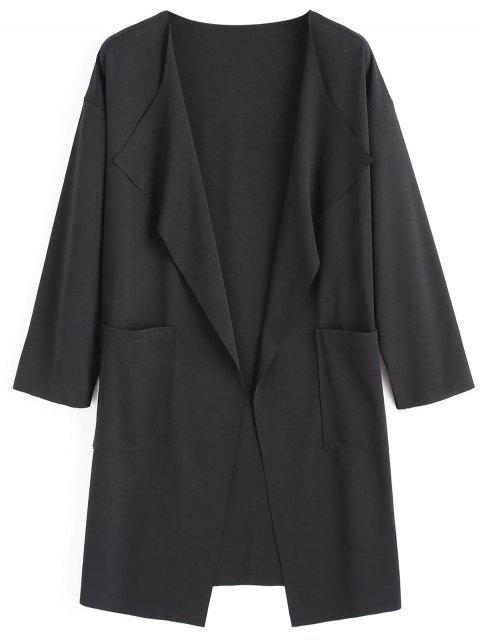 Drapierter Mantel mit Taschen und Drop Schulter - Schwarz M Mobile