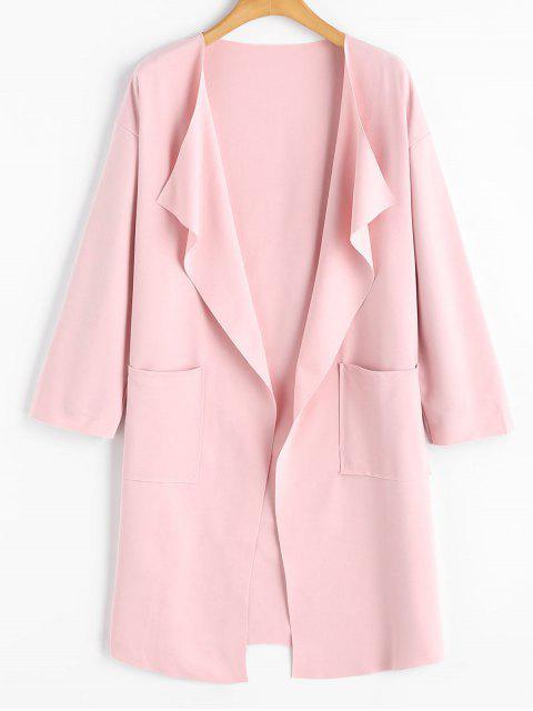 Drapierter Mantel mit Taschen und Drop Schulter - Rosa 2XL Mobile