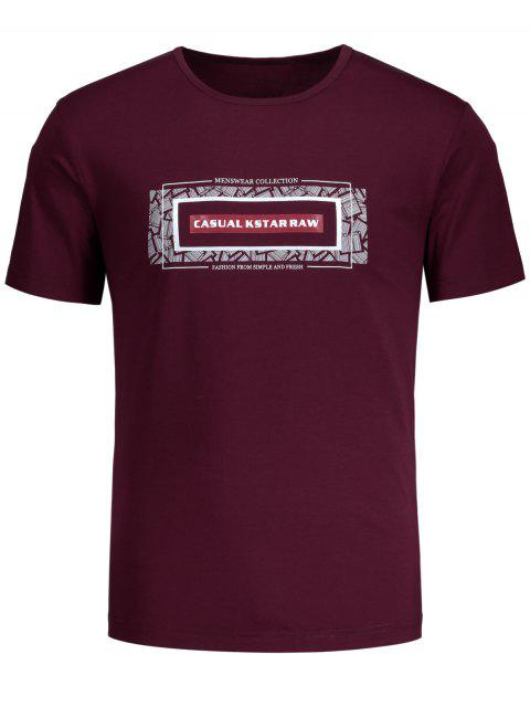trendy Short Sleeve Graphic T-shirt - BURGUNDY L Mobile