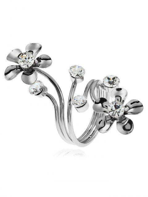 chic Alloy Rhinestone Floral Full Finger Ring - SILVER  Mobile