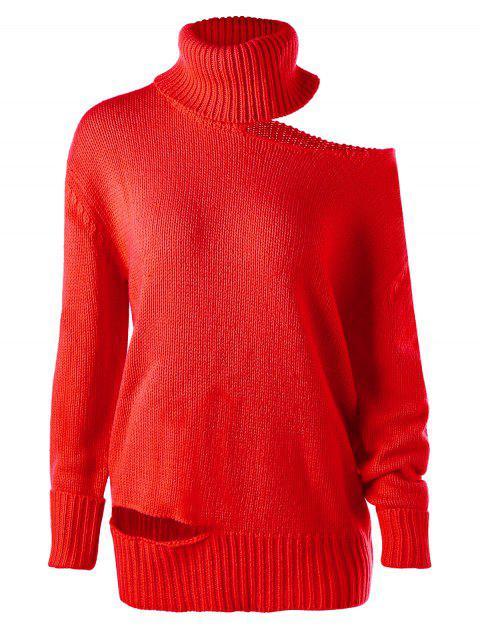ladies Turtleneck Cold Shoulder Tunic Jumper - RED L Mobile