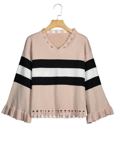 Zerrissener Pullover mit Streifenmuster und V-Ausschnitt - Aprikose Eine Größe Mobile
