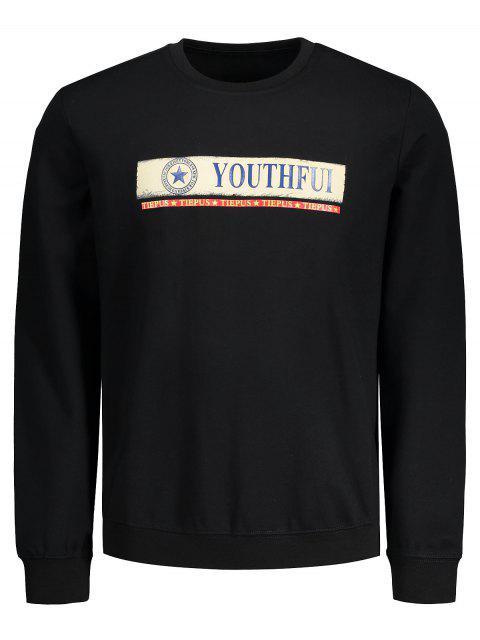 Graphic Youthful Print Sweatshirt - Schwarz L Mobile