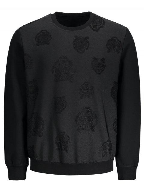 latest Slim Fit Patterned Pullover Sweatshirt - BLACK XL Mobile
