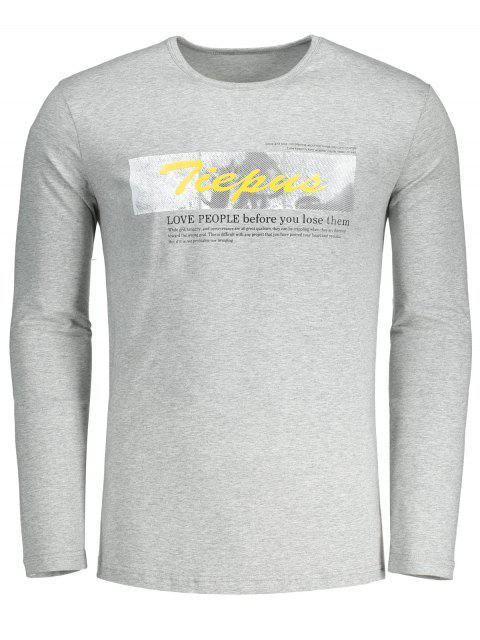 Rundhals-Grafik-Tiepus-T-Shirt - Grau L Mobile