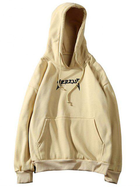 Fleece Känguru Pocket Graphic Herren Hoodie - Khaki M Mobile