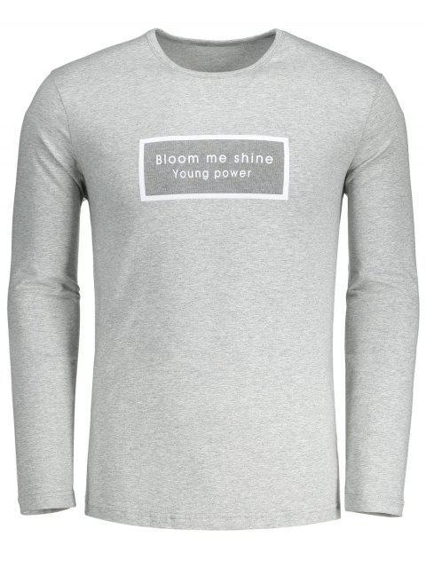 Slim Fit Langärmeliges Letter Tee - Grau L Mobile
