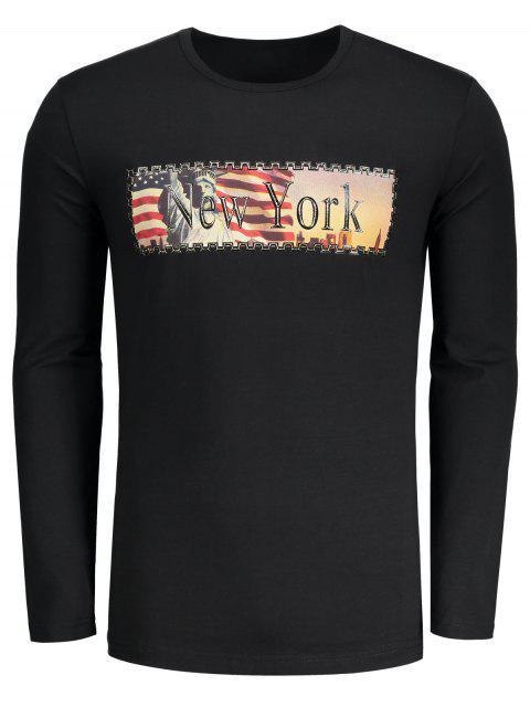 Camiseta de la impresión de la letra de Nueva York - Negro L Mobile