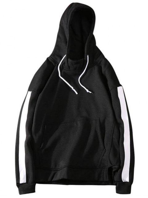 Sweat à Capuche Homme en Melloton à Rayures Latérales - Noir M Mobile