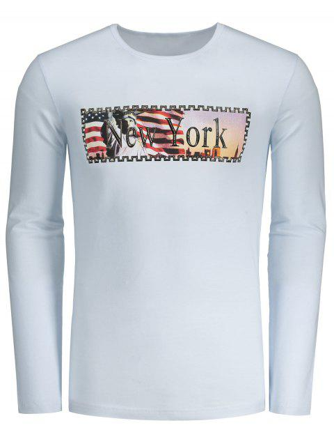 New York Letter Print T-shirt - Blanc L Mobile