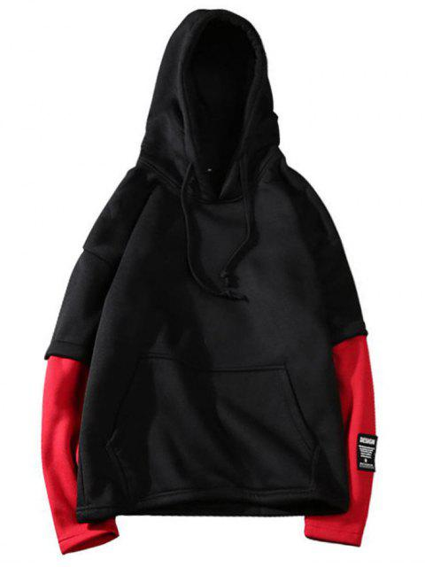 hot Two Tone Fleece Mens Hoodie - BLACK L Mobile