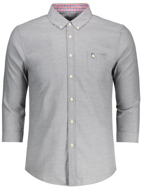 Knopf unten drei Viertel-Hülsen-Hemd - Grau 3XL Mobile