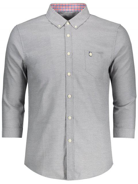 fancy Button Down Three Quarter Sleeve Shirt - GRAY 3XL Mobile