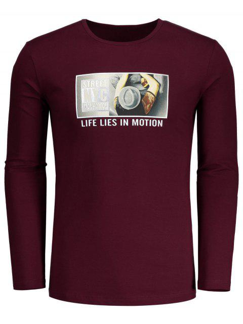 sale Round Neck Graphic T-shirt - BURGUNDY L Mobile