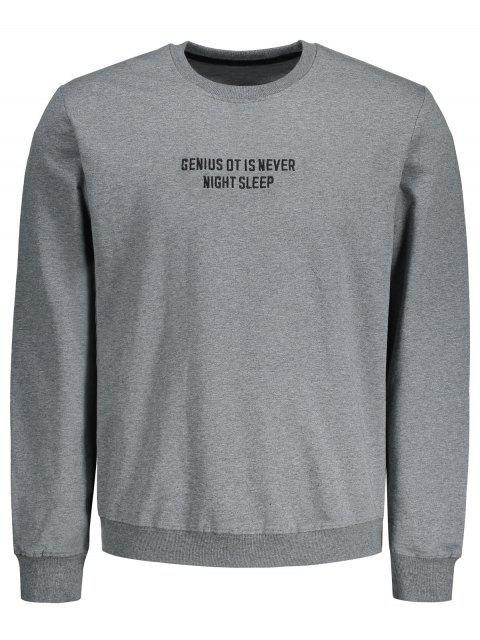 Buchstabe Bestickte Pullover - Grau 2XL Mobile