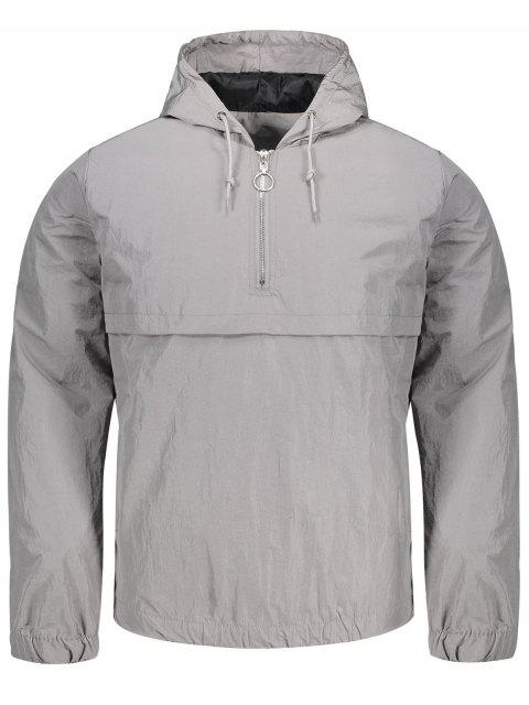shop Hooded Half-zip Windbreaker Jacket - GRAY L Mobile