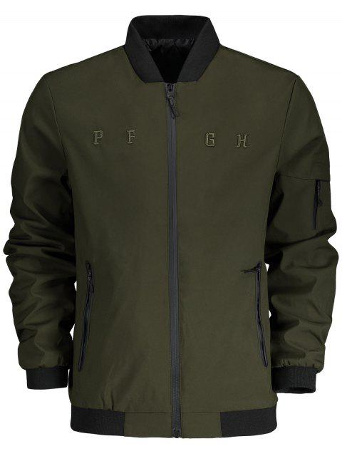 chic Stand Collar Side Pocket Bomber Jacket - ARMY GREEN XL Mobile