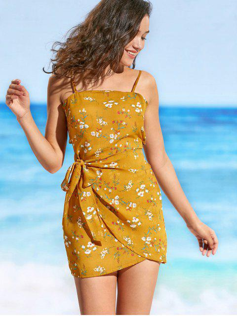ladies Cami Tiny Floral Tied Beach Dress - MUSTARD M Mobile