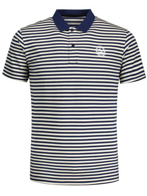 women Short Sleeve Striped Polo T-shirt - BLUE AND WHITE L Mobile