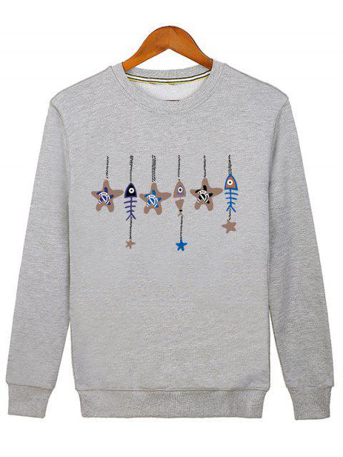 women Stars and Fishbone Windbell Crewneck Sweatshirt - GRAY L Mobile