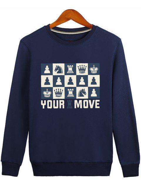 fashion Horse Crown Graphic Crew Neck Sweatshirt - BLUE M Mobile