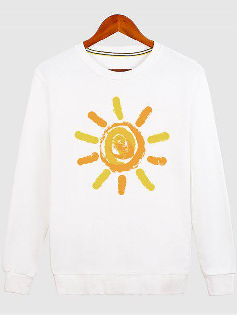 women's Sun Print Cartoon Crew Neck Sweatshirt - WHITE M Mobile