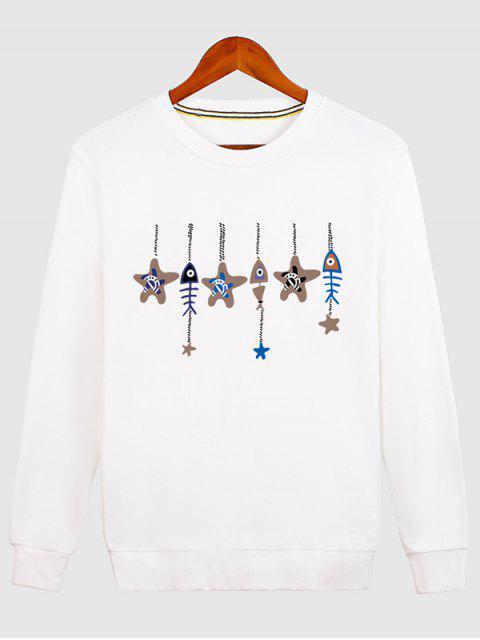 women's Stars and Fishbone Windbell Crewneck Sweatshirt - WHITE L Mobile