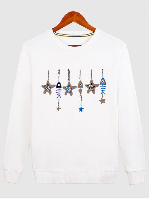 Estrellas y Fishbone Windbell Crewneck Sudadera - Blanco 2XL Mobile