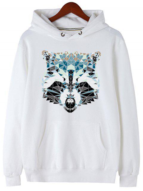 new Kangaroo Pocket Animal Head Print Hoodie - WHITE M Mobile