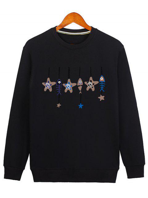 Estrellas y Fishbone Windbell Crewneck Sudadera - Negro XL Mobile