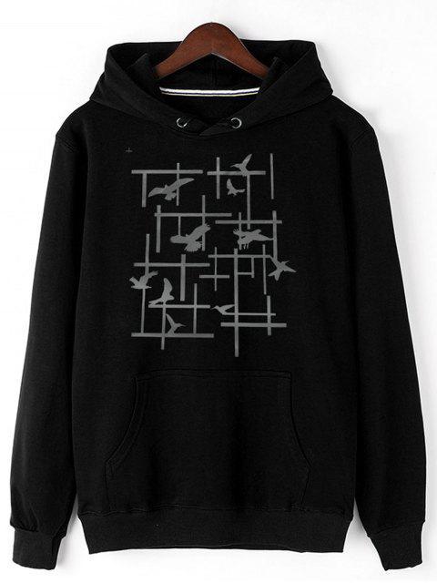 chic Pigeon Print Fleece Pullover Hoodie - BLACK M Mobile