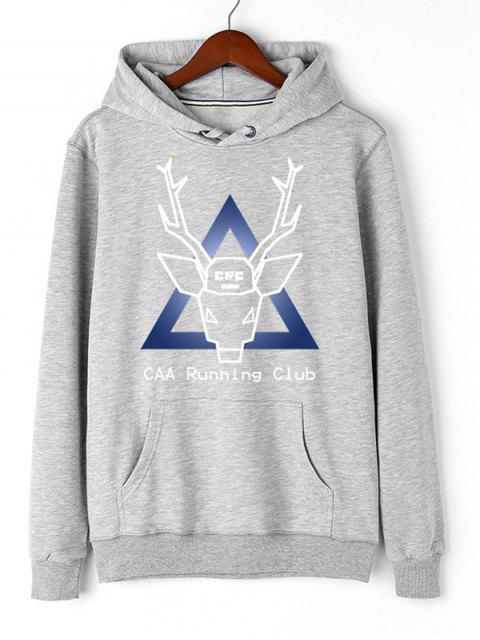 women's Christmas Deer Pullover Graphic Hoodie - GRAY 2XL Mobile