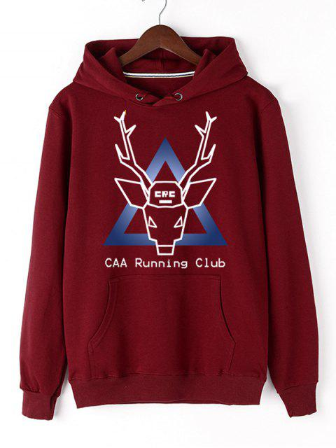 fashion Christmas Deer Pullover Graphic Hoodie - RED M Mobile