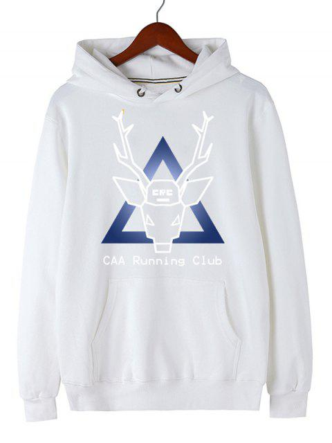 buy Christmas Deer Pullover Graphic Hoodie - WHITE M Mobile