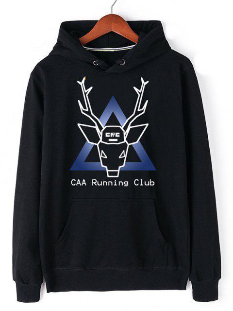 women Christmas Deer Pullover Graphic Hoodie - BLACK 2XL Mobile