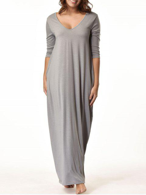 outfit V Neck Floor Length Baggy Dress - GRAY L Mobile