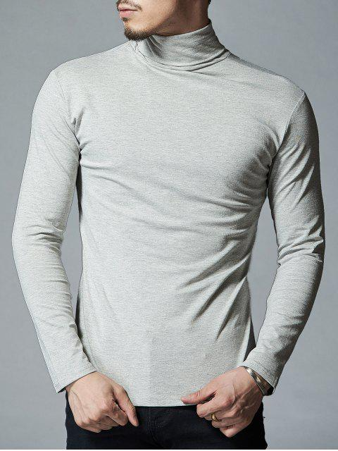 High Neck Stretch Langarm T-Shirt - Hellgrau L Mobile