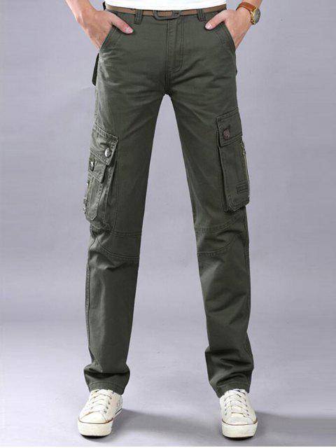 Reißverschluss-Flap Flap Pockets Casual Cargo Pants - Bundeswehrgrün 42 Mobile