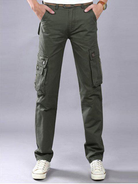 Zip Fly Flap bolsillos pantalones de carga casual - Verde del ejército 38 Mobile