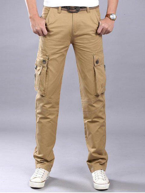 Zip Fly Flap bolsillos pantalones de carga casual - Caqui 42 Mobile