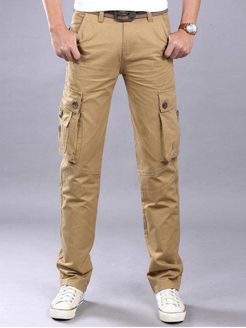 Zip Fly Flap Pockets Casual Cargo Pants - Kaki 38 Mobile