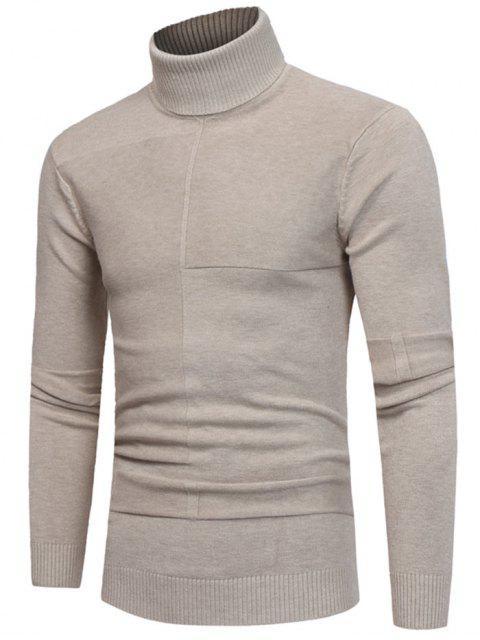 Panel Design Turtleneck Pullover - Beige  XL  Mobile
