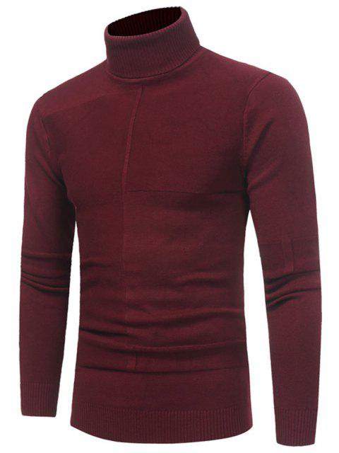 affordable Panel Design Turtleneck Sweater - WINE RED XL Mobile